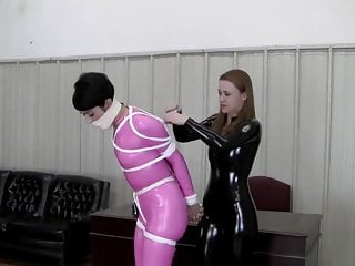 Johanne rosy spandex catsuit roped and miccrofoam ball-gagged best sex