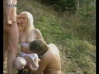 Brilliant ash-blonde in milky pantyhose has threeway in the forest sex tube