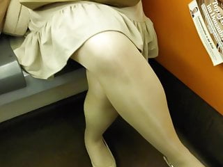 Shining stockings in subway sexvideo