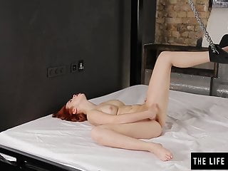 Smooth-shaven sandy-haired spunking stiff with soles in chains sextube
