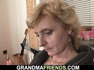 Lean light-haired elder woman opens up gams for 2 guys sex video