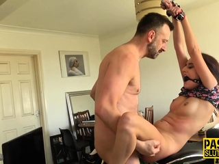 Strapped and ball-gagged nubile enslaved screwed sex tube