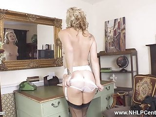 Horny maid milks on office desk in nylons garters high-heeled slippers sex tube