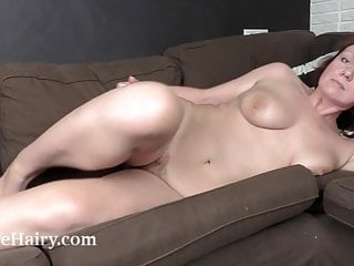 Ranunculus jacks on her chocolate-colored couch sexvideo