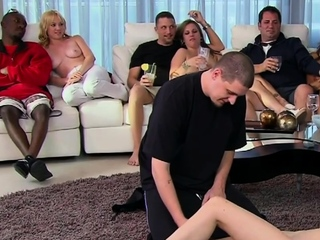 A mischievous onanism soiree with fledgling swinger couples. best sex