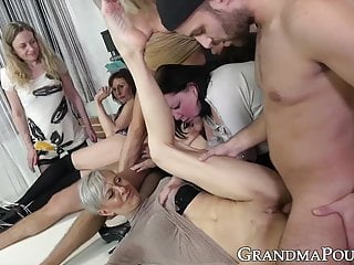 Group of grandmas engulfs a pair of yam-sized youthfull firm spunk-pumps porntube